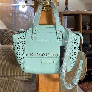 💕B. Makowsky sea green leather shoulder bag nwt💕